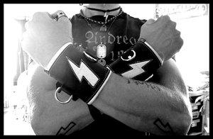 The White Lightningbolt - Black Leather Wristband