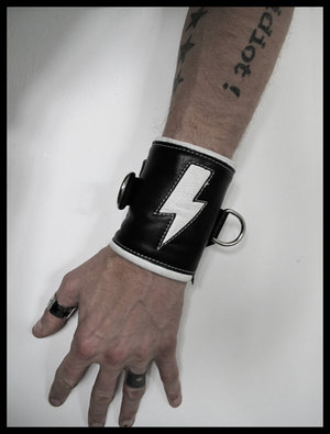 The White Lightningbolt - Black Leather Wristband