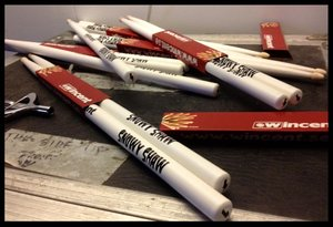 Snowy's signature white sticks by Wincent